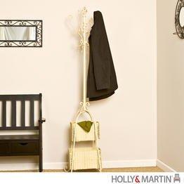 """Ivory Hall Tree with Rattan Storage (Ivory) (72.5""""H x 18.5""""W x 18.5""""D)"""