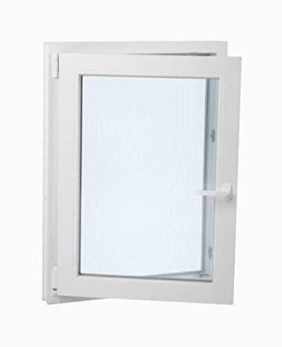 Perfecta para cuarto de Ba/ño Ventana PVC 60 cm x 70 cm Alto aislamiento termico y acustico Resistente al sol Abatible Oscilobatiente Vidrio Opaco Climalit Apertura Izquierda