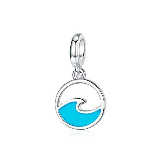 BAMOER Blue Charms Sterling Silver Charm Summer Wave Charm for DIY Making Bracelet and Necklace Sterling Silver Pendants for Women Girls