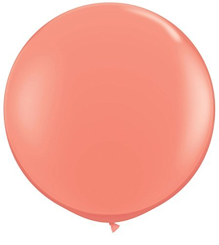 Coral Pink Giant 3ft Qualatex Latex Balloons x 2 (36 Inch Latex Balloon Peach)