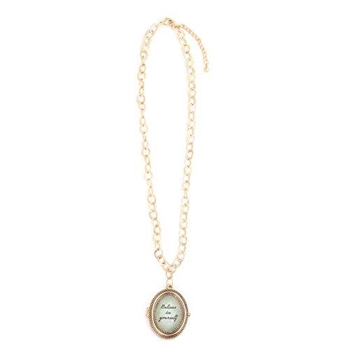 DEMDACO Believe Oval Goldtone One Size Women's Zinc Alloy Locket Pendant Necklace