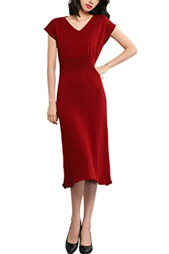 Knit Dresses Women's Vneck Cashmere Short Sleeve Elegant Sheath Aline Dresses for Party (L, D-Wine)
