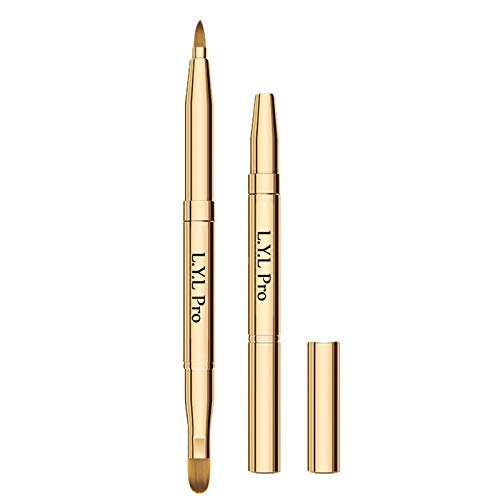 L.Y.L Pro Gold Retractable Lip Makeup Brushes Double-Ended Retractable Lip Brush Travel Lipstick Gloss Makeup Brush for Christmas Gifts