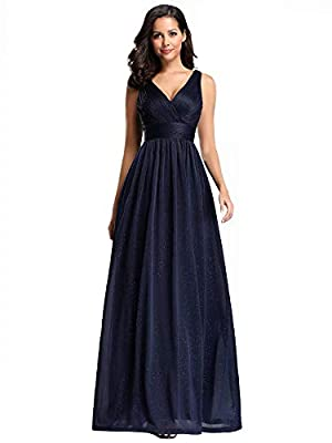 Ever-Pretty Womens V-Neck Shimmery Navy Blue Long Evening Party Maxi Dresses Prom Gown for Women 07764