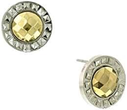 Silver-Tone Gold Stone Round Stud
