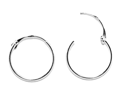 14K White Gold EasyOn Hinged Continuous Endless Hoop Earrings (12mm) (1mm Tube)
