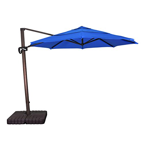 California Umbrella 11' Round Aluminum Cantilever Umbrella, Crank Lift, Slide Tilt, 360 Rotation, Bronze Pole, Sunbrella Pacific Blue California Cantilever Umbrella