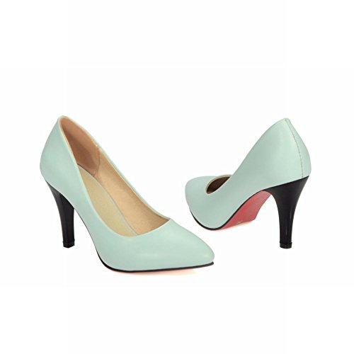 Carolbar Para Mujer Del Dedo Del Pie Del Banquete De Boda Nupcial Tacones Altos Bombas Zapatos Azul