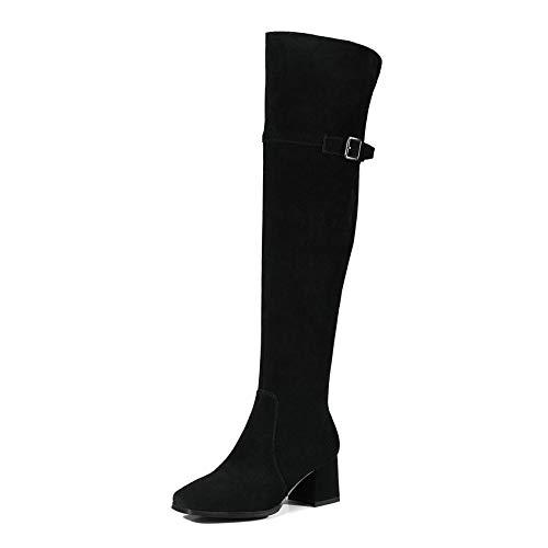 HOESCZS 2019 Frauen Kniehohe Stiefel Fashion Square Ferse Karree Reißverschluss Westrn Stil Echte Frauen Motorradstiefel Größe 34-39