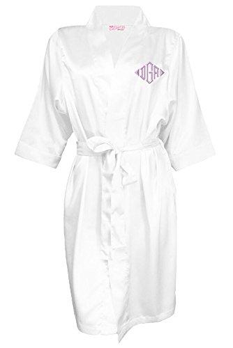(Zynotti Women's Personalized Embroidered Monogram Satin Robe White Satin Robe S/M)