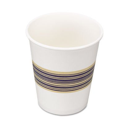 Boardwalk  8HOTCUP 8 oz White With Blue And Yellow Midband Paper Hot Cup (Case of 1000)