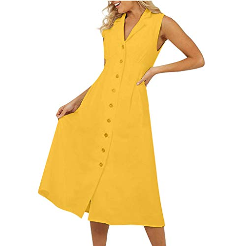Aniywn Womens Dresses Sleeveless V-Neck Button Down Long Dress Solid Color Casual Knee-Length Party Dress Yellow ()