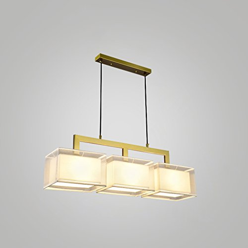 Cgjdzmd European Modern Simple Rectangular Living Room Chandelier Creative Personality Dining Room Bar Restaurant Pendant Lights Height: 30CM 110V - 240V ( Color : Gold , Size : Three heads ) (Cabinet Dining Room Chrome)