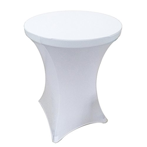 Iveecky 36 Inch Round by 42 Inch Spandex Tablecloth for Cocktail Table White (Table 36 Cocktail)