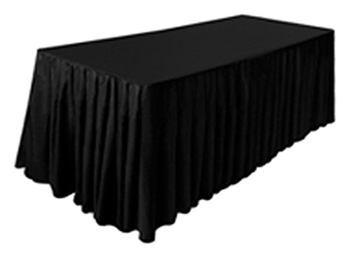 TEKTRUM 8' FT LONG FITTED TABLE SKIRT COVER FOR TRADE SHOW - BLACK COLOR