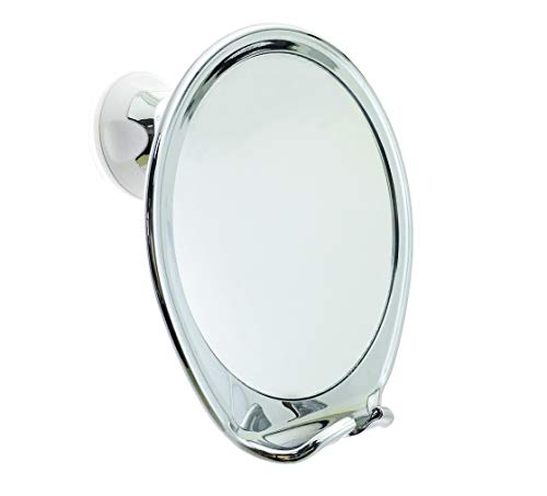 (JiBen Fogless Shower Mirror with Power Locking Suction Cup, Built-in Razor Hook and 360 Degree Rotating Adjustable Arm, Personal Fog Free Bathroom Shaving Mirror (Chrome))