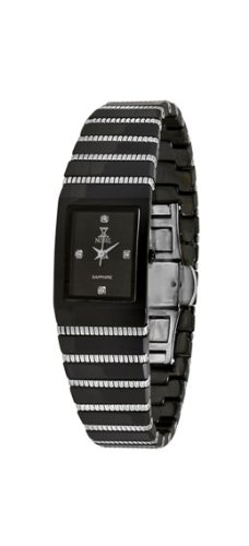 Nobel Women's N7110L Watch, Analog Stainless Steel with Black Ceramic Link Band, Holiday Gift for Her