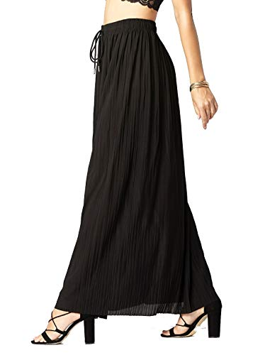 Conceited Women's High Waisted Pleated Maxi Skirt - Maxi Skirt Black - One Size - 902-Skirt-Black