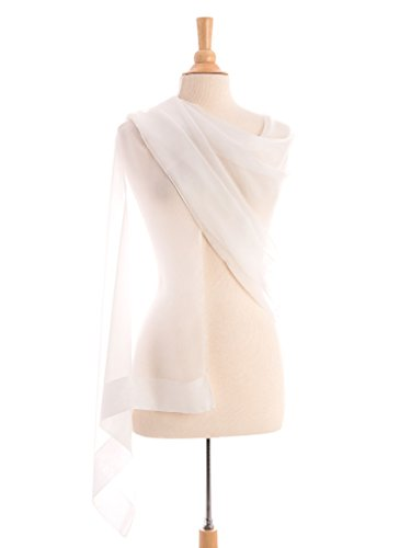 Elizabetta Women's Sheer Silk Chiffon Evening Formal Wrap Scarf Shawl, White