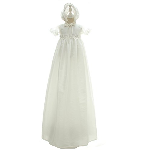 Moon Kitty Infant Christening Dress 2PCS Baptism Dresses Long Satin Baptism Gowns For Baby -