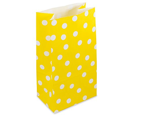 Yellow Dot Small Paper Lunch Sack or Favor Bag | 12 Ct
