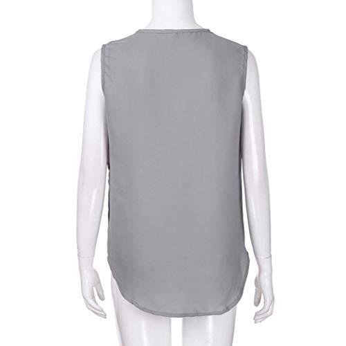 Casual Accogliente Irregular Smanicato Tshirt Donna Estivi Monocromo Moda Donne Senza Eleganti Magliette Camicetta Bianca Neck V Spalline Classiche Chiffon Tops awqCPZC