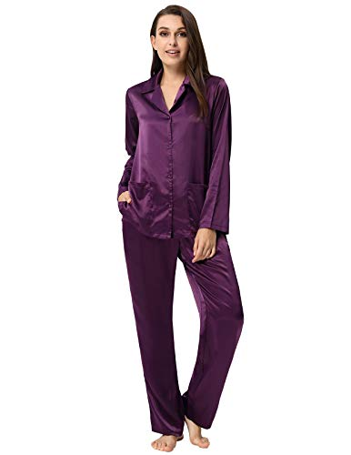 Long Sleeve Pajamas for Women Silky Satin Sleep Shirts Set Purple L