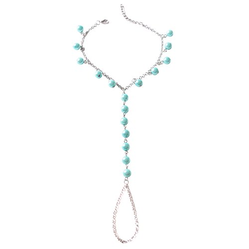 TQS Barefoot Sandal Boho Foot Chain for Women Imitation Pearls Anklets 1 pcs