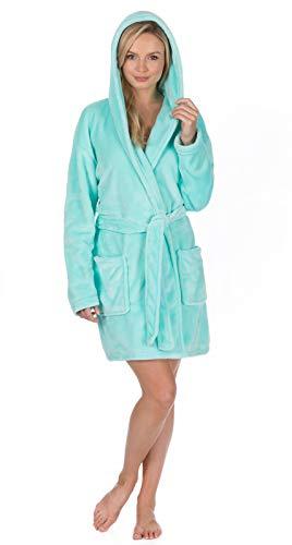 Lora Dora Womens Plus Size Fleece Dressing Gown Aqua - Chrostmas Jewel
