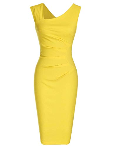 Tevodla Women's 1950s Retro Style Sleeveless Formal Pencil Dress Slim Fitted Stretchy Business Cocktail Party Midi Dress (Large, Y1)