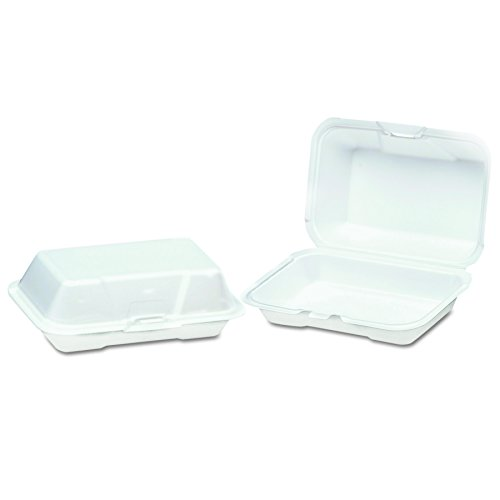 1 Compartment Foam Container - Genpak 21700 8-1/4-Inch Length by 5-Inch Width by 3-Inch Height White Color Small Deep 1 Compartment All Purpose Foam Hinged Container 125-Pack (Case of 4)