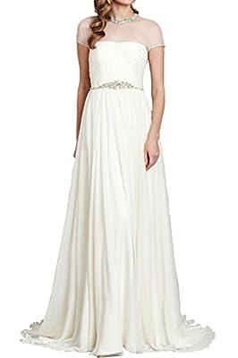 Audrey Bride Sheer Straps Bridesmaid Dresses Outdoor Wedding Dresses with Train