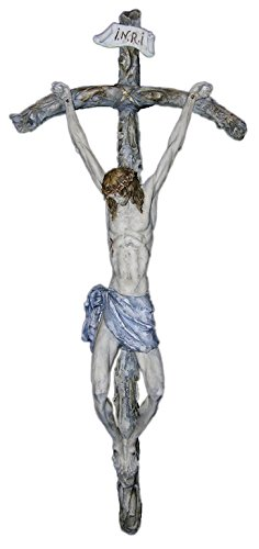 Papal Crucifix by Ado Santini in hand-painted alabaster and resin cross and corpus, 24.5inches. Made in Italy.