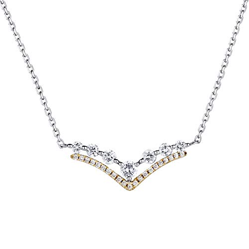 Unique 18k platinum v-shaped fine diamond collarbone chain 0.33ct diamond necklace birthday gift present necklace for women ()