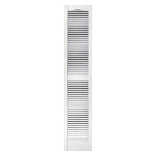 Builders Edge 12 in. x 60 in. Louvered Vinyl Exterior Shutters Pair in #117 Bright White ()