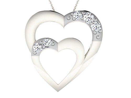 Libertini Pendentif argent 925 serti de Diamant en forme de Coeur
