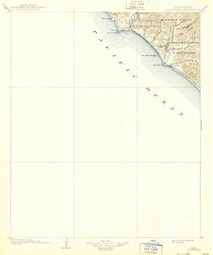 (YellowMaps Capistrano CA topo map, 1:125000 Scale, 30 X 30 Minute, Historical, 1902, Updated 1939, 19.8 x 16.5 in - Polypropylene)