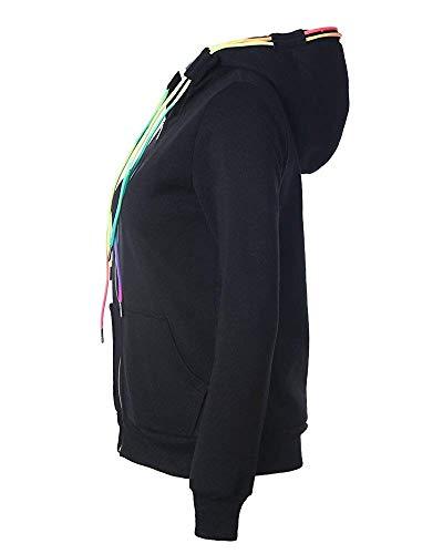 S Avec Taille couleur Femme Veste Zhrui Noir À Capuche Sweat 47AEzq