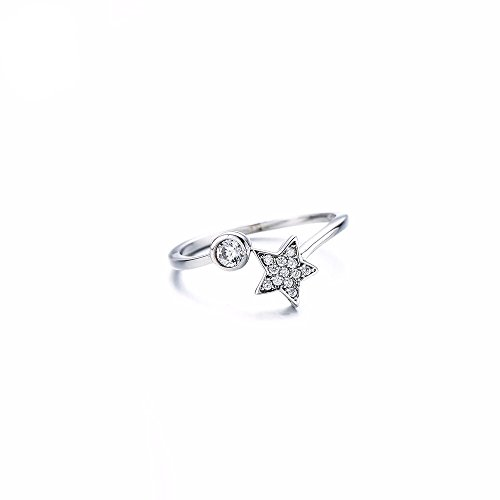 Sywin Women's Ring Shape of Stars and Moon- 925 Sterling Silver AAA Cubic Zirconia Expandable Open Rings Adjustable Women (4 Czs Sterling Silver Ring)