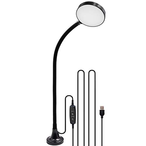 - USB Operated Magnetc Dimmable LED Work Table Reading Light Workshop Lamp with Adjustable Gooseneck and Timer Function, Daylight 5000K, Length 3 Meters USB Cable by Enuotek
