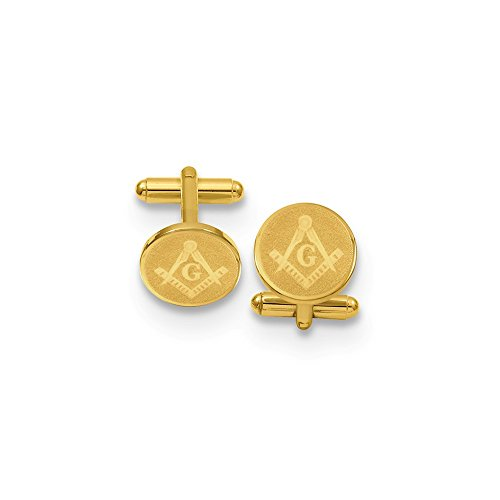 - Kelly Waters Gold-Flashed Solid Textured Polished Gift Boxed Not engraveable Round Masonic Cuff Links