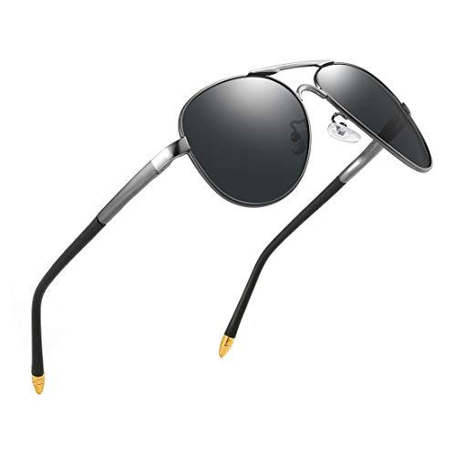 luojery Luxury aviator Men's Polarized Vintage Driving Sunglasses shades For Men UV400 (Gun Arm Silver Bridge Grey Lens, as the ()