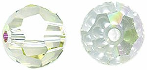 Swarovski #5000 Faceted Round Beads, Crystal Finish, 8mm, Luminous Green, 6-pack (Green Swarovski Glass)