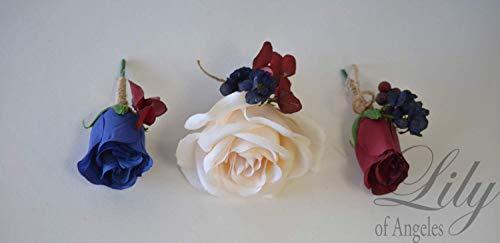 Wedding-Bouquet-Bridal-Bouquet-Bridesmaid-Bouquet-Silk-Flower-Bouquet-Wedding-Flower-peach-navy-blue-burgundy-blush-Lily-of-Angeles