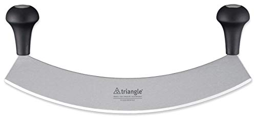 Triangle Germany 14 inch Mezzaluna Knife, Rust-Free Stainless Steel Curved Blade with Ergonomic Handle, Pizza Cutter, Vegetable, Salad and Fruit Chopper, Professional-grade, Dishwasher Safe ()