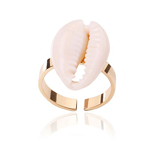 POTESSA 18k Rose Gold Plated Natural Cowrie Shell Open Rings Adjustable Finger Ring Delicate Jewelry for Women Girls ()