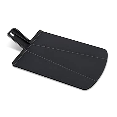 Joseph Joseph 60040 Chop2Pot Foldable Plastic Cutting Board 19-inch x 10.75-inch Chopping Board Kitchen Prep Mat with Non-Slip Feet 4-inch Handle Dishwasher Safe Lays Flat Folds Up, Large, Black