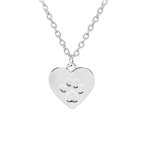 - Gbell Women Fashion Necklace Heart Shaped Puppy Footprint Choker Necklace Charms Neck Chain - Trendy Gold Silver Necklaces Jewelry Statement for Women Girls Mom Valentine's Day Jewelry Gift (Silver)