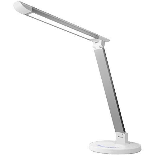 7 Temperature Settings - Lux LED Dimmable LED Desk and Table Lamp - Touch Sensitive Control - 7-Level Brightness and 5 Temperature Setting Color Modes- Includes USB Charging Port - White