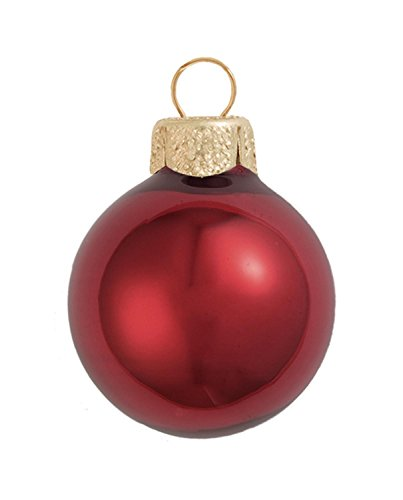 28ct Pearl Burgundy Red Glass Ball Christmas Ornaments 2